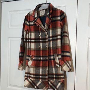 Womens Plaid Pea Coat